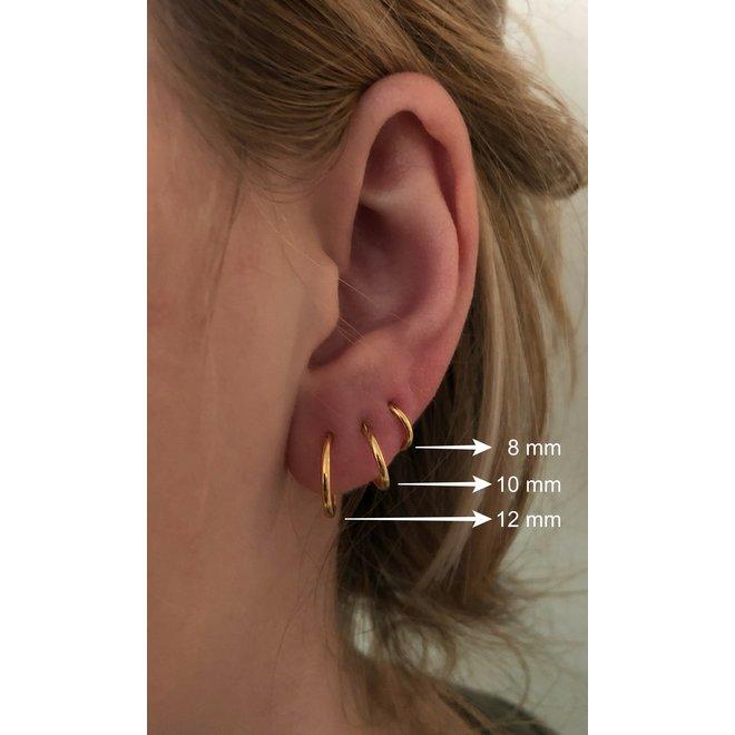 925 Zilveren mini creolen oorringen ronde buis 10 x 1.2  goud verguld