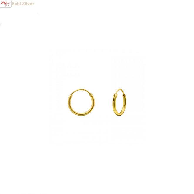 Goud op zilver mini oorringen ronde buis 10 x 1.2 mm