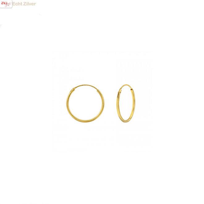 Goud op zilver oorringen ronde buis 18 x 1.2 mm