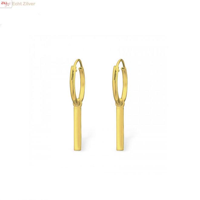 925 Zilveren creolen oorringen met staafje  goud verguld