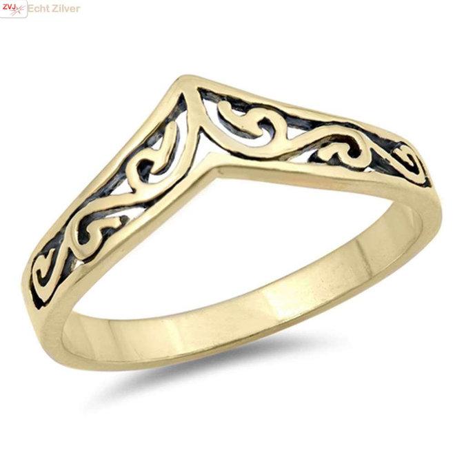 Goud op zilver swirl chevron ring