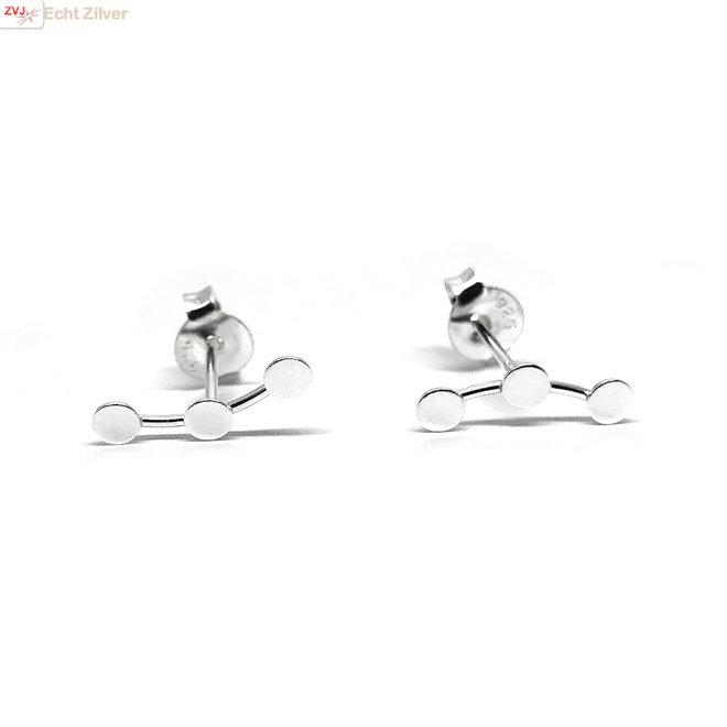 Zilveren kleine 3 cirkels oorstekers