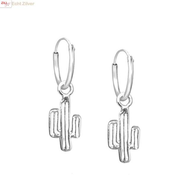 Zilveren creolen oorringen met cactus hangertje