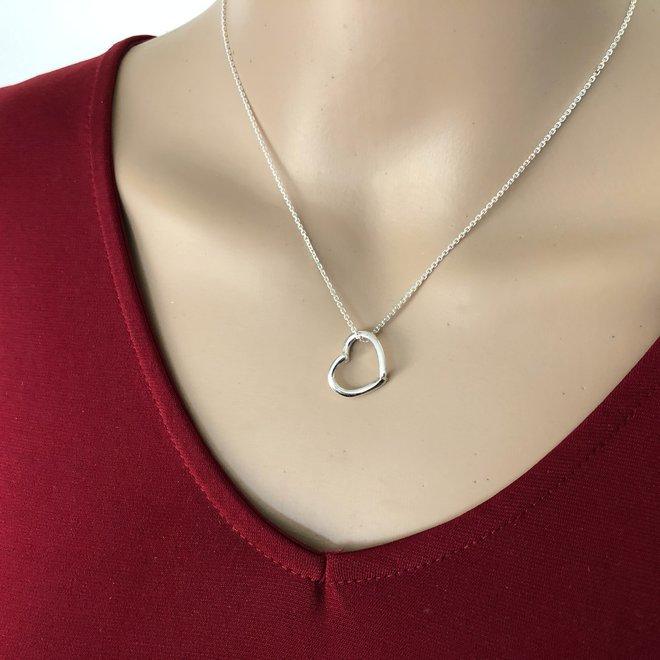 Zilveren design hartje hanger