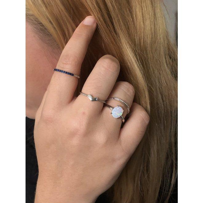Zilveren draai ring witte cz smal