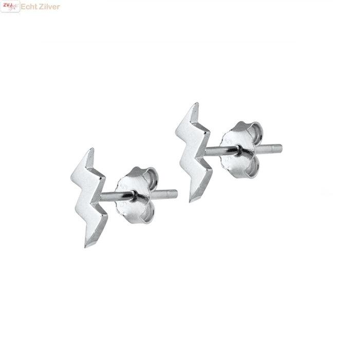 Zilveren kleine bliksem oorbellen