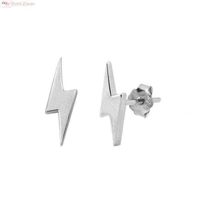 Zilveren bliksemschicht oorstekers