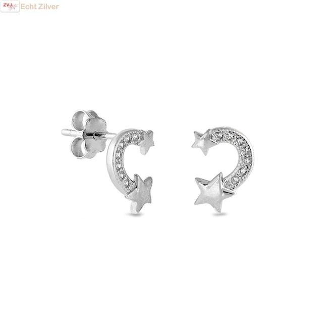 Zilveren vallende ster oorstekers