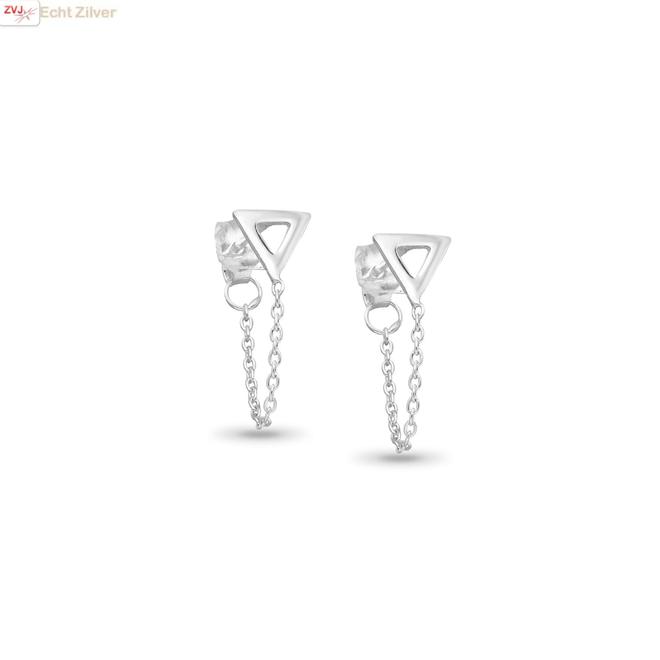 Zilveren driehoek ketting oorsteker