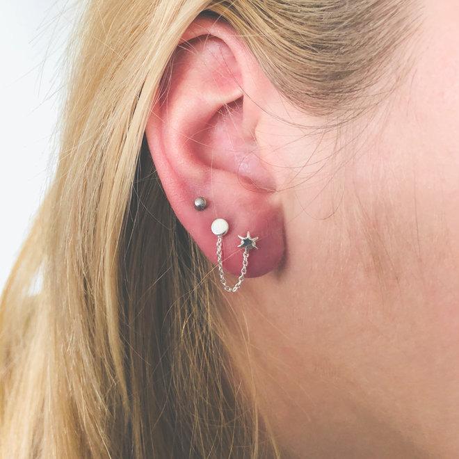 Zilveren cirkel ster duo oorstekers