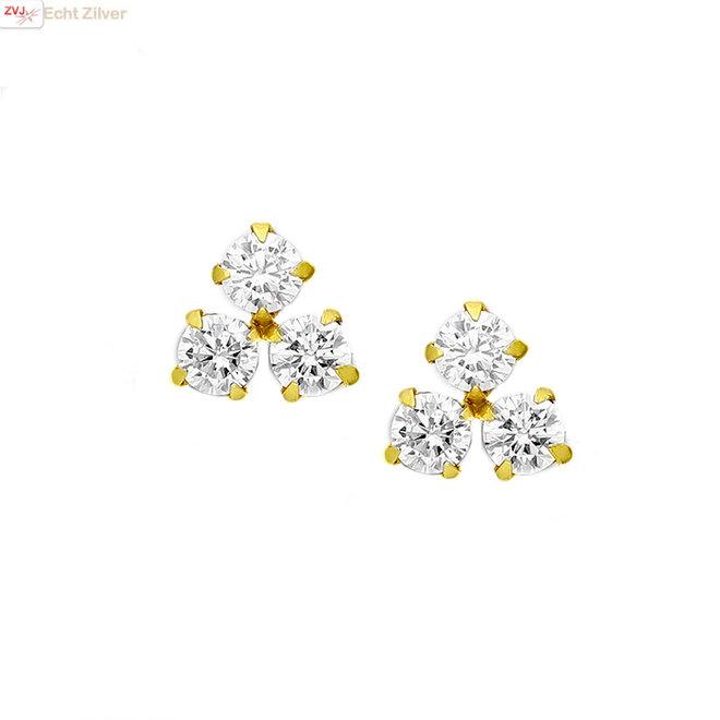 Goud verguld trintity CZ diamant oorstekers