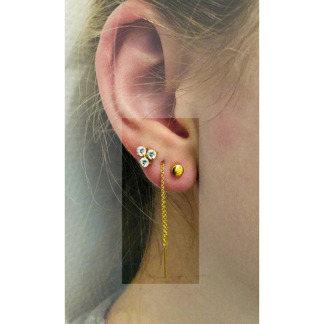 925 zilveren goud verulgde trinity CZ diamant oorstekers