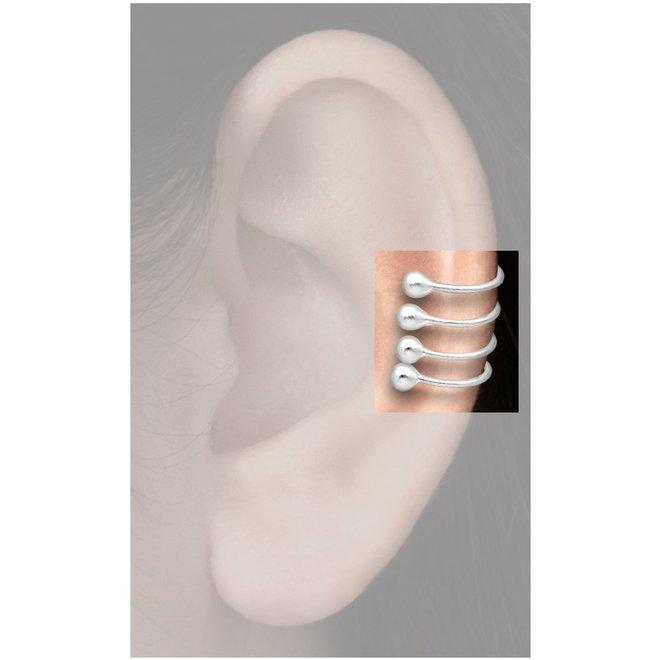 925 Zilveren 4 lijnen met balletjes oor klem