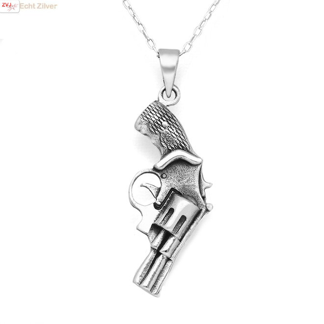 925 Zilveren revolver gun geweer pistool kettinghanger