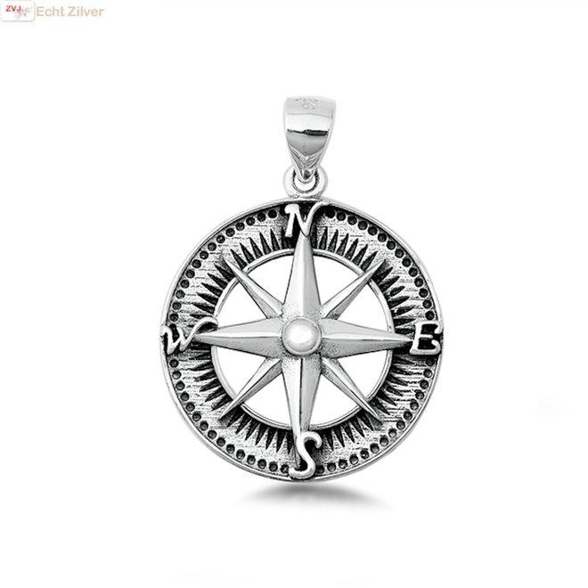 Zilveren windroos kompas hanger