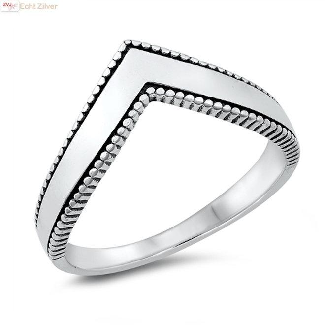 925 Zilveren dot chevron V ring