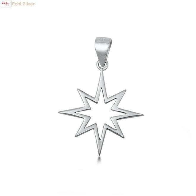 Zilveren ster kettinghanger