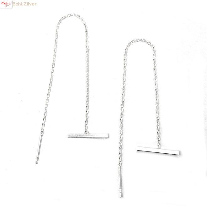 Zilveren staaf threaders lang