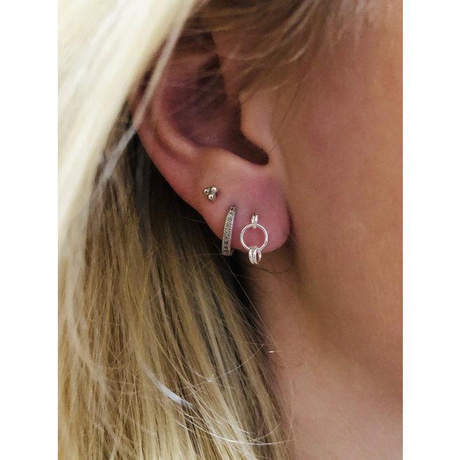 Zilveren kleine cirkels oorstekers