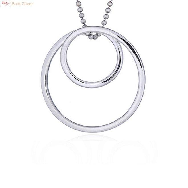 Zilveren spiraal cirkel kettinghanger