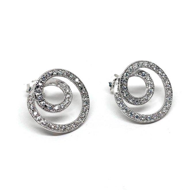 Zilveren spiraal witte zirkoon oorstekers