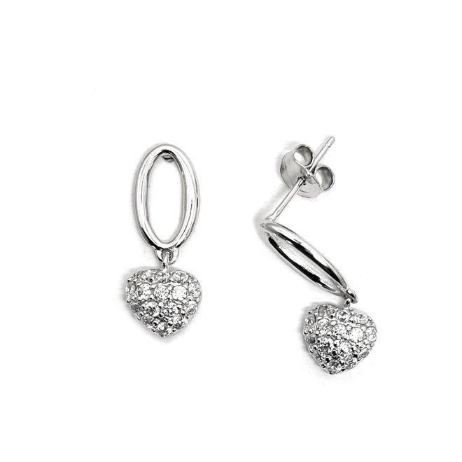 Zilveren open ovaal zirkoon hart oorbellen