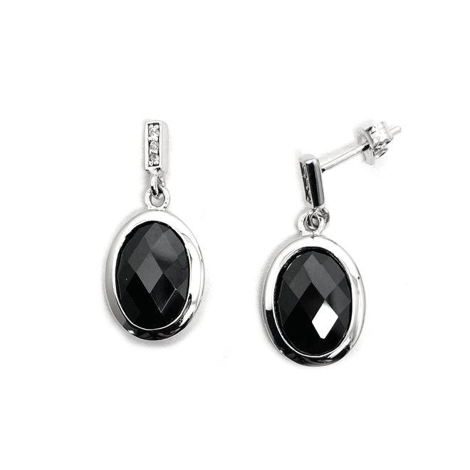 Zilveren ovale zwarte facet onyx oorhangers