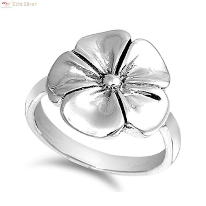 Zilveren vergeet mij nietje ring