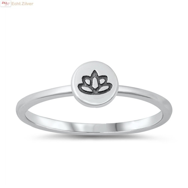 Zilveren cirkel lotus ring