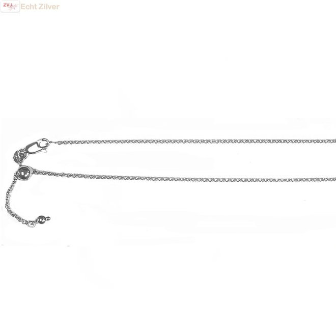 Zilveren rolo verstelbare rhodium ketting 55 cm