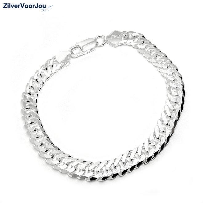 Zilveren 7,7 mm dubbele gourmet schakel heren armband