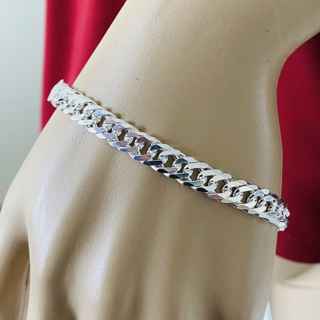 Zilveren dubbele gourmet schakel heren armband 20 cm 7,7 mm breed massief