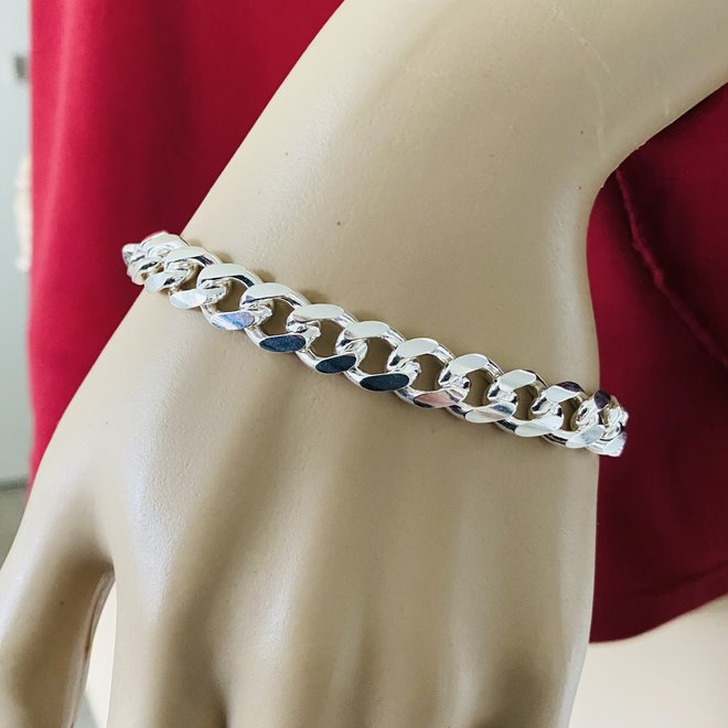 Zilveren miami cuban link heren schakelarmband 20 cm 9,3 mm breed massief
