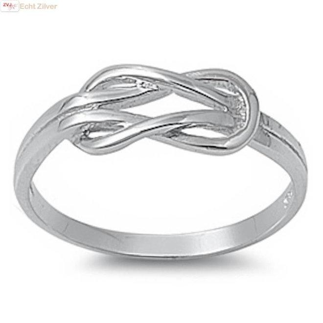 Zilveren infinity knoop ring