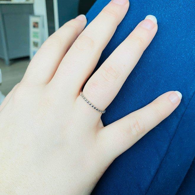 Zilveren eternity bead bolletjes ring