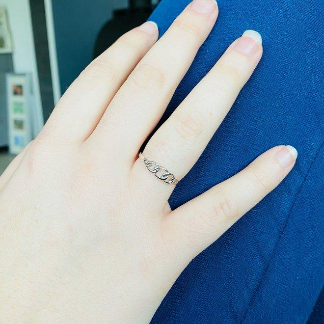 Zilveren gourmet schakel ring