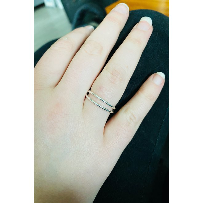 Zilveren 2 lijnen ring