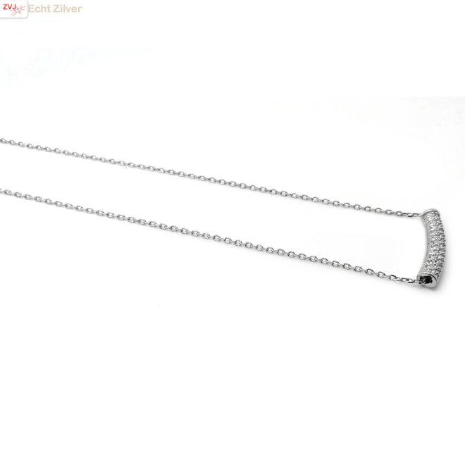 Zilveren koker ketting pave zirkoon