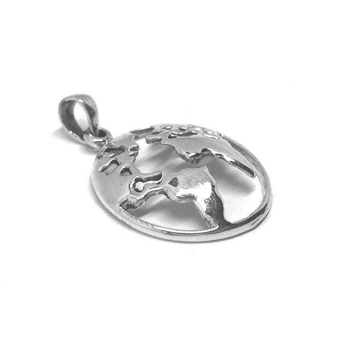 Zilveren wereldbol kettinghanger