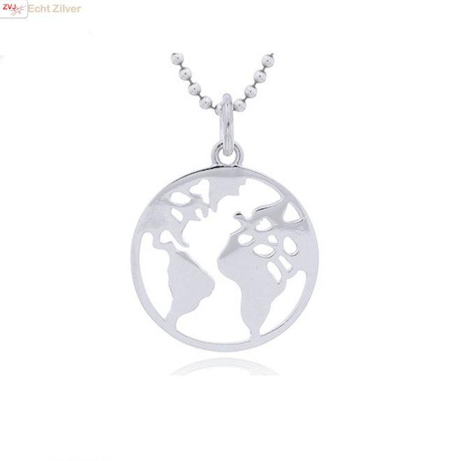 Zilveren platte wereldbol kettinghanger
