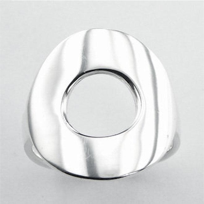 Zilveren donut open cirkel ring