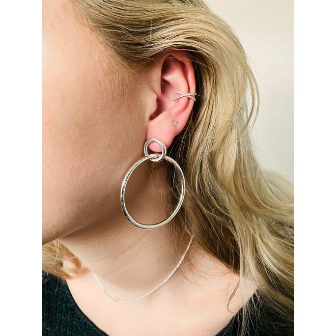 Zilveren grote oorringen stekers