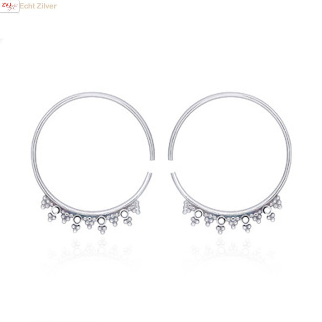 Zilveren floral beads oorringen