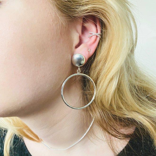 Zilveren oorringen groot button steker