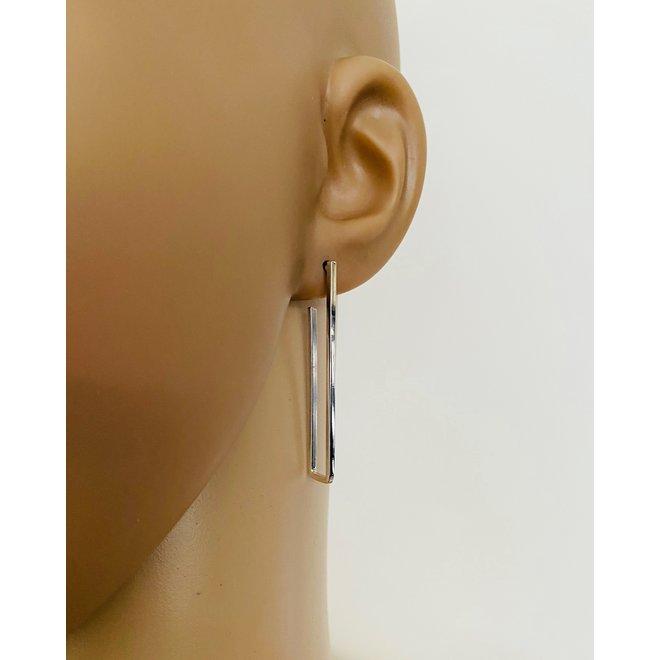 Zilveren rechthoek staaf oorstekers