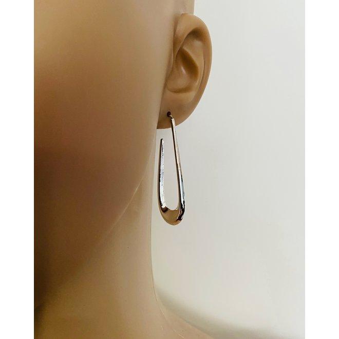Zilveren open druppelvorm oorstekers