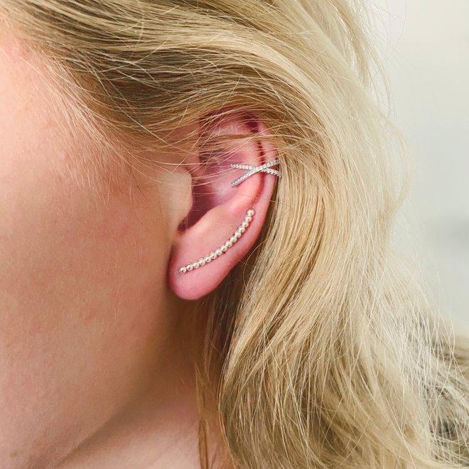 Zilveren bolletjes oorklimmers ear cuffs