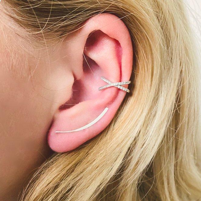 Zilveren strakke platte lijn oorklimmers ear cuffs