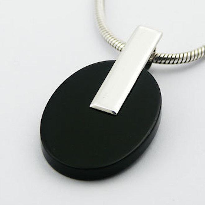 Zilveren zwarte agaat ovaal design kettinghanger