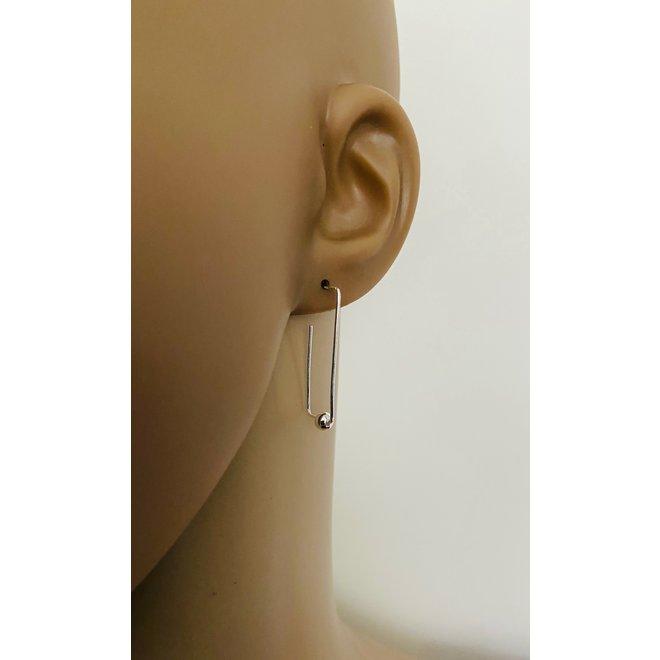 Zilveren draad bal oorbellen
